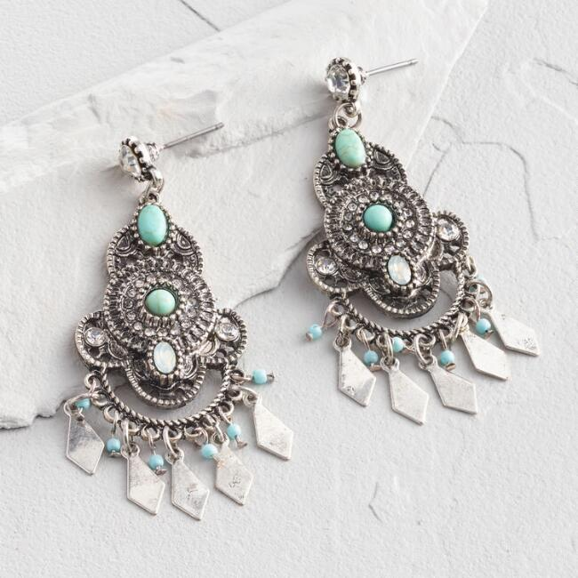 Silver and Turquoise Rhinestone Chandelier Earrings