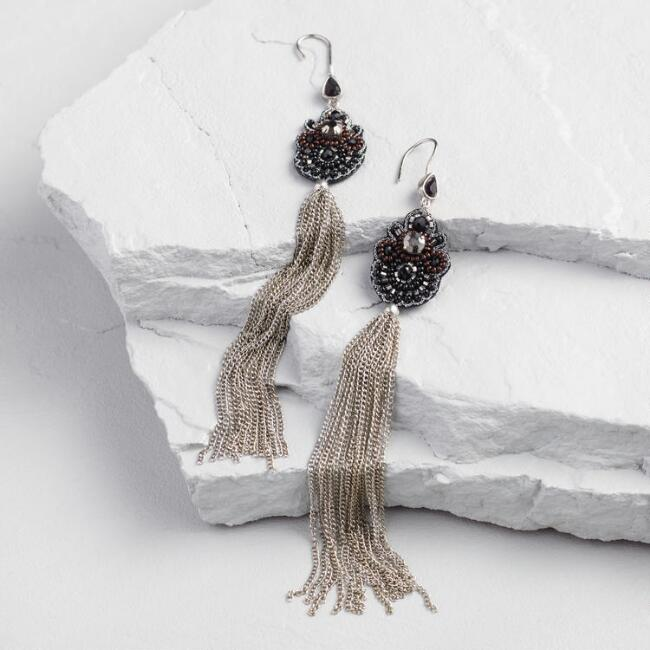 Black Bead and Silver Tassel Statement Earrings