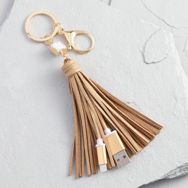 Gold iPhone Charger Tassel Keychain