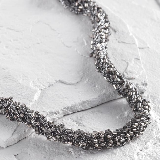 Gunmetal Linked Chain Multi Strand Necklace