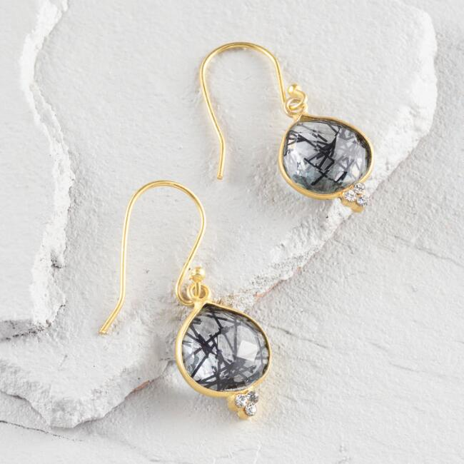 Gold and Black Rutile Drop Earrings