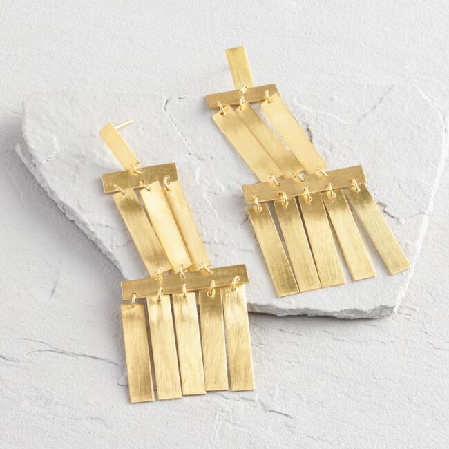 Gold Layered Fringe Statement Earrings