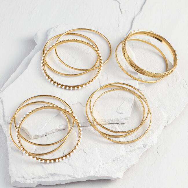 Gold Textured Bangles Set of 11
