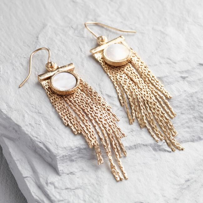 Gold Fringe and Mother of Pearl Earrings