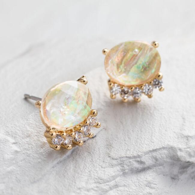 Rainbow Crystal Stud Earrings