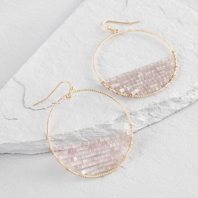 Gold and Blush Beaded Front Hoop Earrings