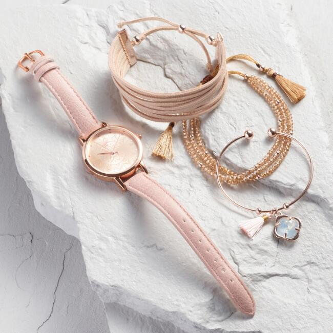 Rose Gold Watch and Bracelet Boxed Set