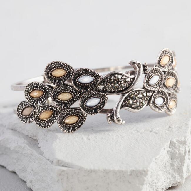 Silver Neutral Stones Peacock Hinge Cuff Bracelet