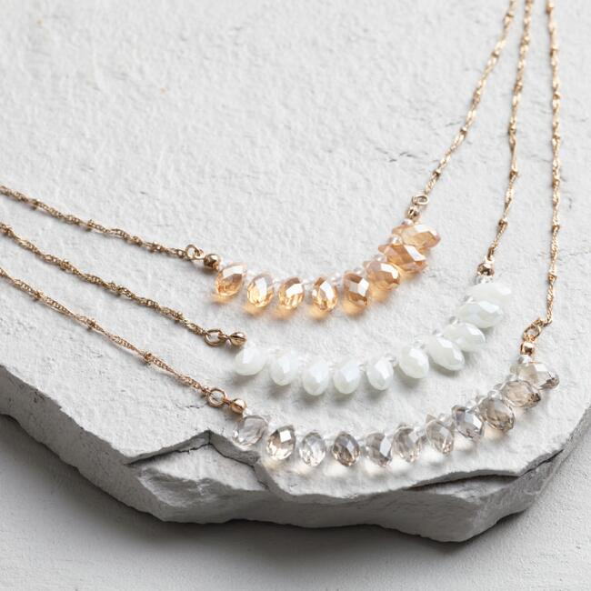 Gold and Crystal Teardrop Layered Necklace