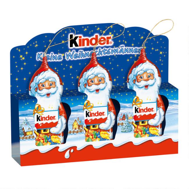 Kinder Santa Milk Chocolate Tree Ornaments 3 Piece