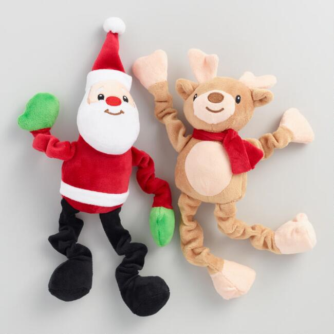 Santa and Deer Pet Toys Set of 2