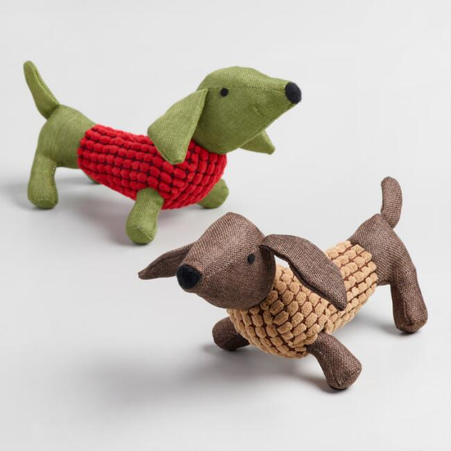 Dachshund Squeaker Pet Toys Set of 2