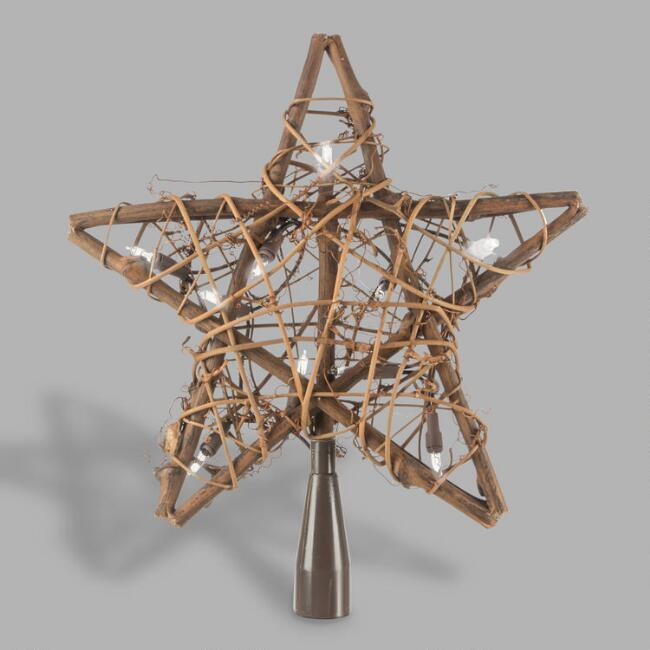 Illuminated Willow Star Tree Topper