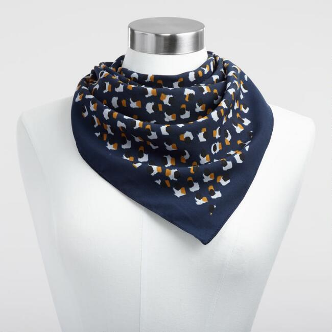 Navy and Gold Kerchief Scarf