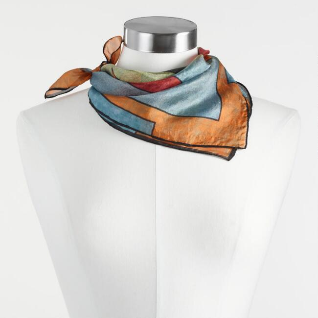 Colorblock Silk Kerchief Scarf