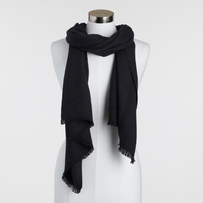 Black Soft Pleated Scarf