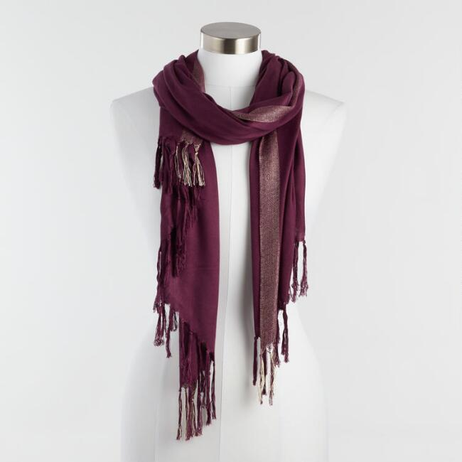 Wine Pashmina Style Scarf with Gold Metallic Trim