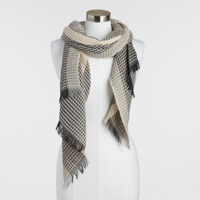 Black and White Waffle Weave Scarf