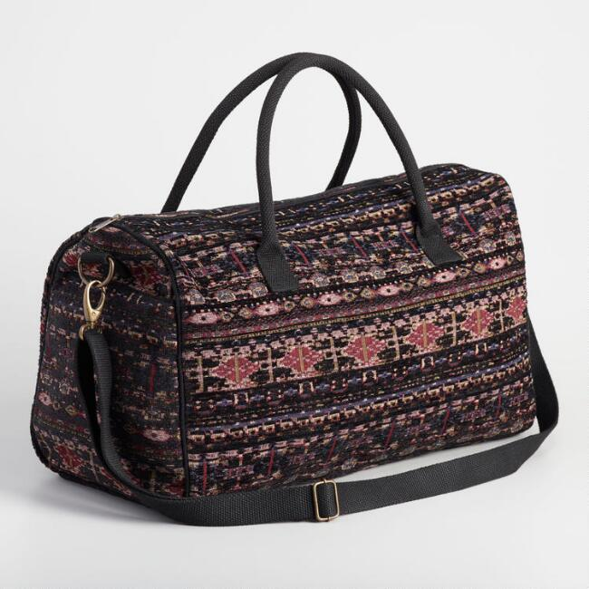 Purple Jacquard Weekender Bag
