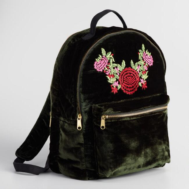 Green Velvet Embroidered Backpack