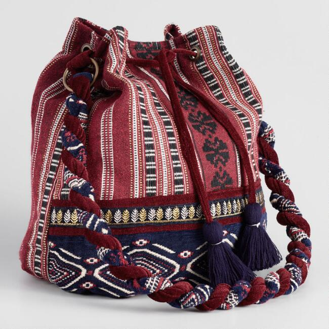 Red and Navy Jacquard Crossbody Bucket Bag