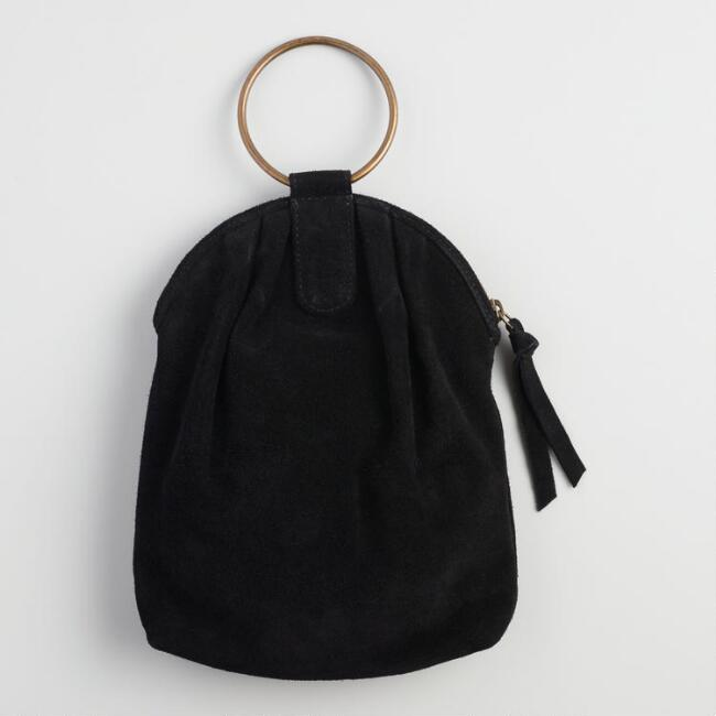 Black Suede Antique Ring Bag