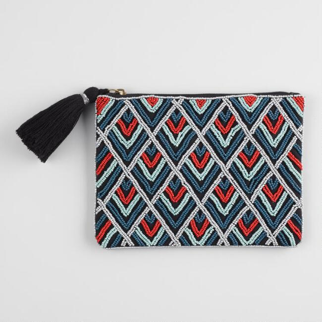 Red and Blue Beaded Pouch