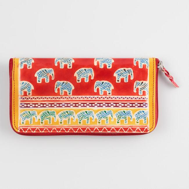 Red and Yellow Elephant Leather Wallet