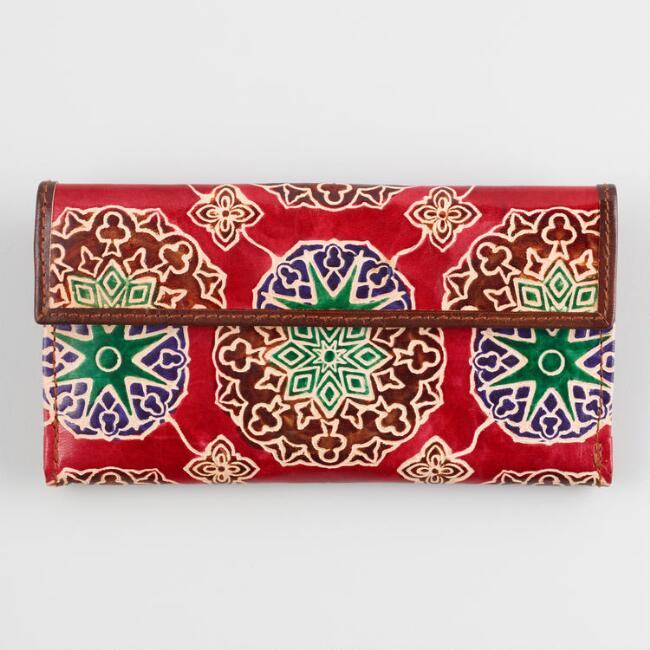 Red Tile Leather Wallet