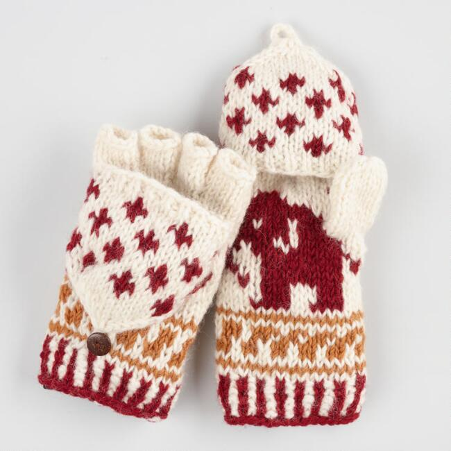Red Wool Elephant Convertible Gloves