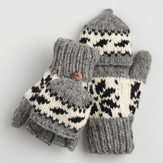 Black and Gray Wool Snowflake Convertible Gloves
