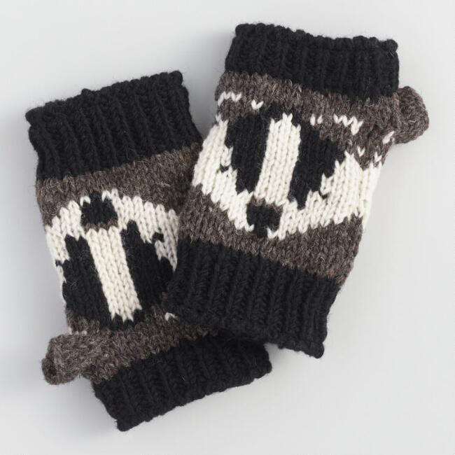 Black and Charcoal Wool Badger Convertible Gloves