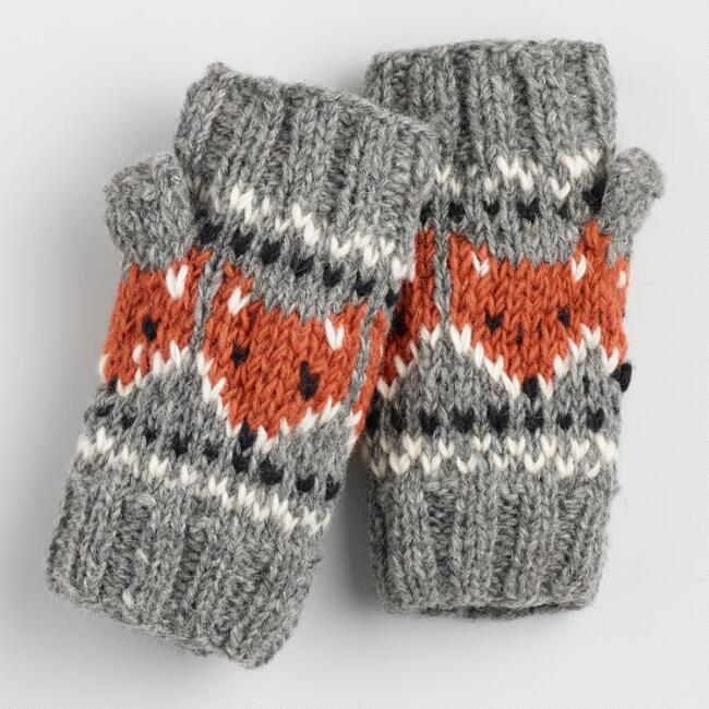 Gray and Rust Wool Fox Convertible Gloves