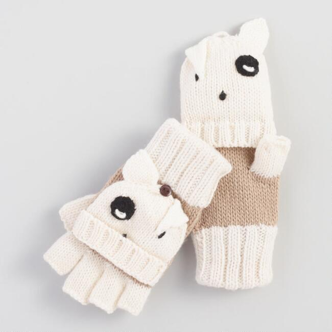Ivory Dog Convertible Gloves