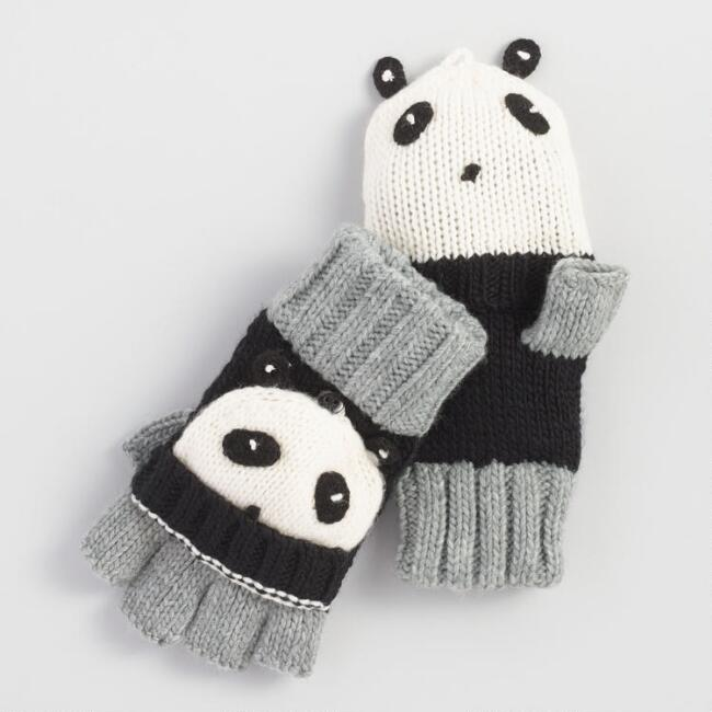 Gray and Black Panda Convertible Gloves