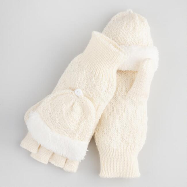 Ivory Faux Sherpa Convertible Gloves