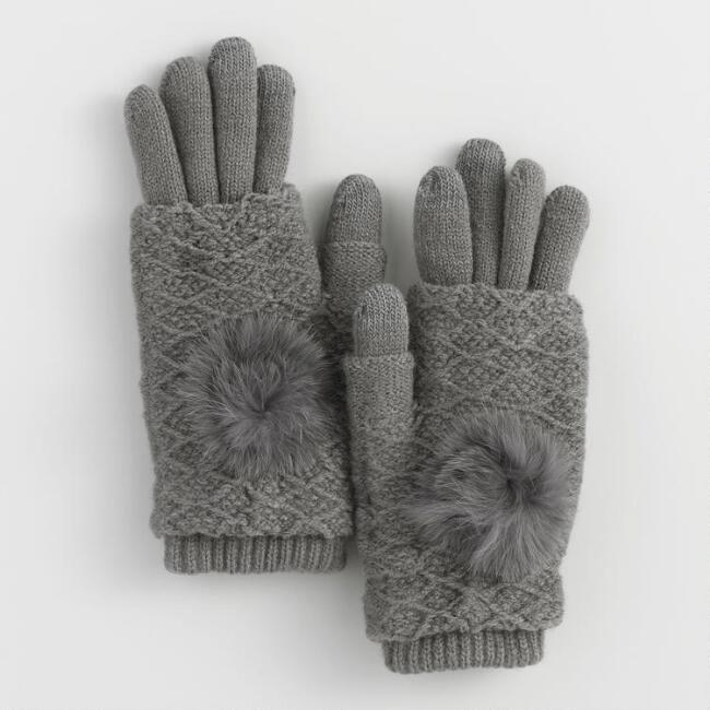 Gray 3 Way Touch Screen Gloves