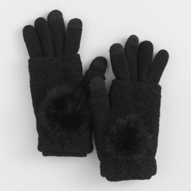 Black 3 Way Touch Screen Gloves
