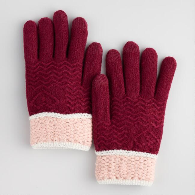 Wine Red and Blush Touch Screen Gloves