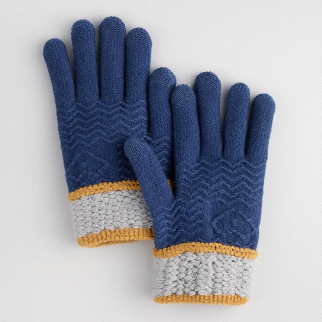 Navy and Gray Touch Screen Gloves