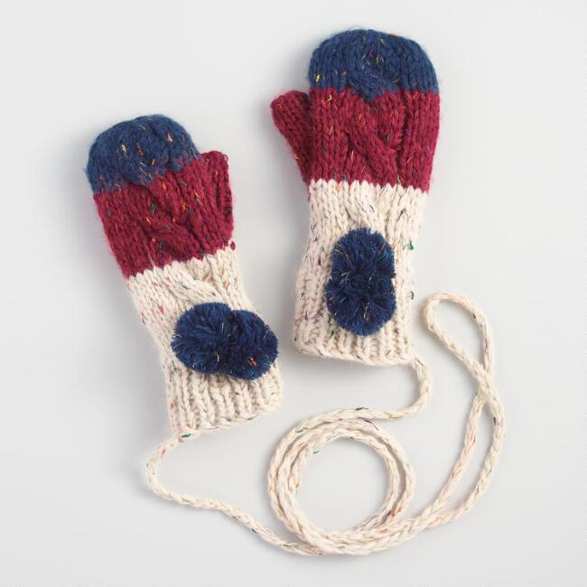 Navy, Wine and Oatmeal Colorblock Mittens on String
