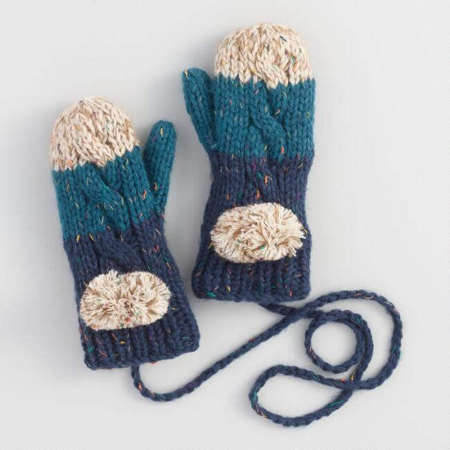 Blue and Oatmeal Colorblock Mittens on String