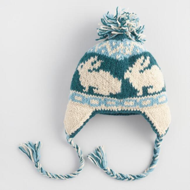 Blue and White Wool Bunny Trapper Pom Hat