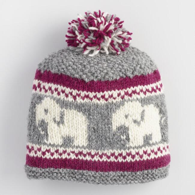 Burgundy, Gray and Ivory Wool Elephant Pom Hat
