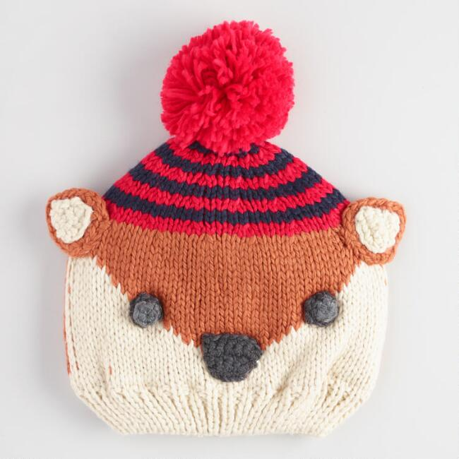 Light Brown and Ivory Squirrel Pom Hat