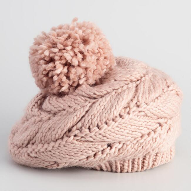 Blush Cable Knit Pom Beret