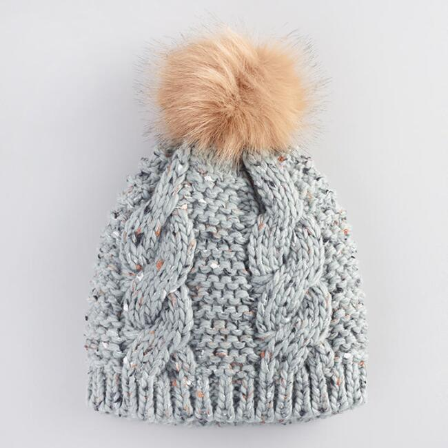 Gray Cable Knit Pom Hat