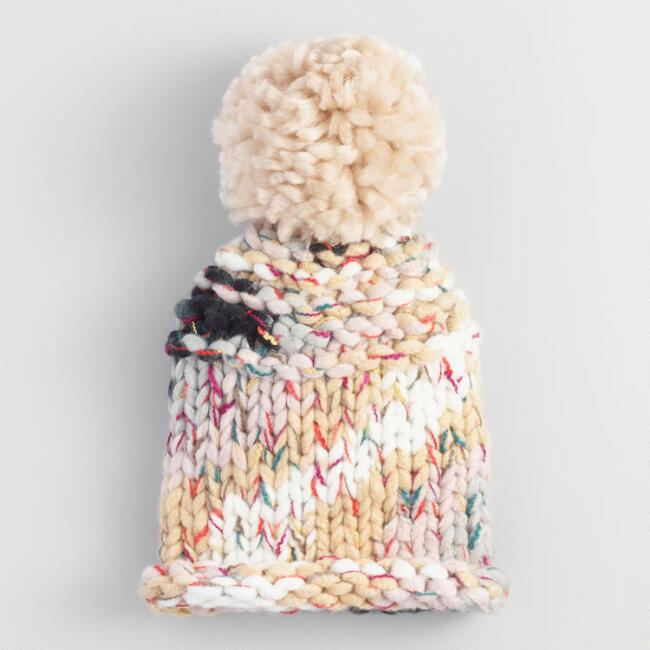 Multicolor Chunky Knit Pom Hat