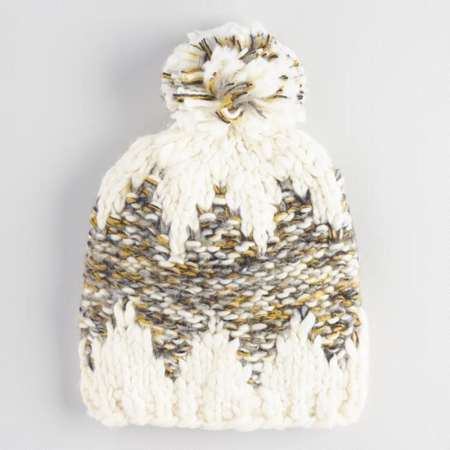 Ivory and Olive Chunky Knit Pom Hat