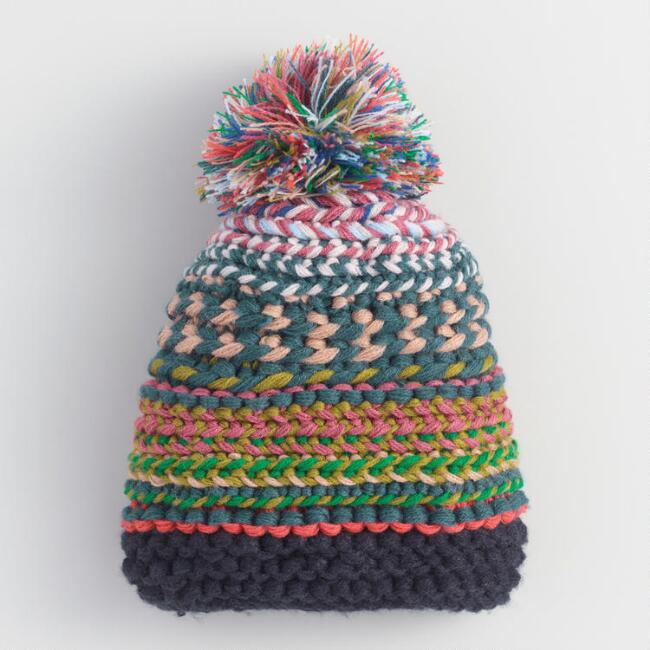 Blue Multicolor Chunky Knit Pom Hat